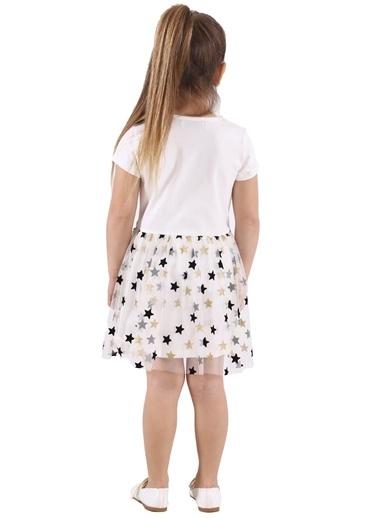 Silversun Kids Kız Çocuk Baskılı Etekleri Yıldız Desenli Tüllü Elbise Ek 217901 Ekru